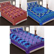 Set of 3 Jaipuri Cotton Double Bedsheets With 6 Pillow Covers -90C15