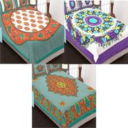 Set of 3 Traditional Jaipuri Print Double Bedsheets with 6 Pillow Covers-3B84X90C16