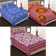 Set of 3 Jaipuri Cotton Double Bedsheets With 6 Pillow Covers -90C8