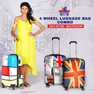 4 Wheel Luggage Bag Combo (55 & 65 cm) - Multicolor