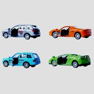 1:64 Scale Set of 4 Die-Cast Collectible Micro Sports Pullback Toy Cars