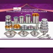 Kitchen Queen 43 Pcs Coloured Stainless Steel Storage Set @Rs 1999