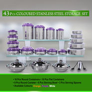 43 Pcs Coloured Stainless Steel Storage Set