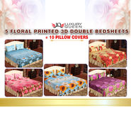 5 Floral Printed 3D Double Bedsheets + 10 Pillow Covers (5BS23)