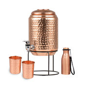 5 Ltr Copper Water Dispenser + 2 Glass & Stand with Free 300ml Copper Bottle