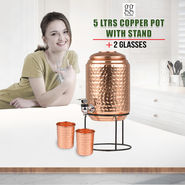 5 Ltrs Copper Pot with Stand + 2 Glasses_Upsell