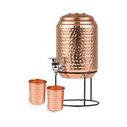 5 Ltr Copper Water Dispenser + 2 Glasses & Stand with Free 2 Silver Plated Coins
