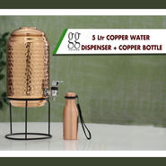 5 Ltr Copper Water Dispenser + Stand with 300ml Copper Bottle