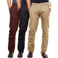 Pack Of 3 Cotton Lycra Slim Fit Chinos-UB-13