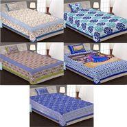 Priya Fashions Cotton King Size Jaipuri Printed 5 Single Bedsheets With 5 Pillow Covers-5B70X100C3