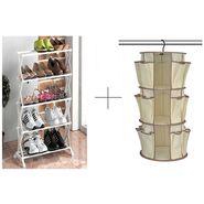 Buy 5 Tier Foldable Stainless Steel Shoe Rack With Hanging Shoe Rack - 5TRWHGSR