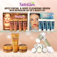 6 Pcs Facial & Body Cleansing Brush with Nutriglow Set of 5 Beauty Kit