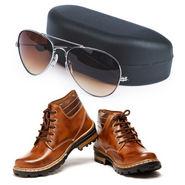 Combo of Tan Boots + Aviator Sunglasses