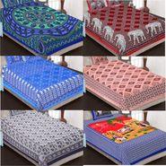 Priya Fashions Cotton  Jaipuri Printed 3 Double 3 Single Bedsheets With 9 Pillow Covers-6B70X100X84X90C1