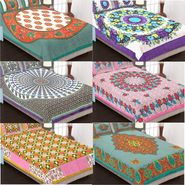 Set of 6 Traditional Jaipuri Print Double Bedsheets with 12 Pillow Covers-6B84X90C1