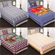Priya Fashions Cotton King Size Jaipuri Printed 4 Single Bedsheets With 4 Pillow Covers-70X100B4C1