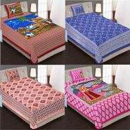 Priya Fashions Cotton King Size Jaipuri Printed 4 Single Bedsheets With 4 Pillow Covers-70X100B4C2