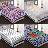Priya Fashions Cotton King Size Jaipuri Printed 4 Single Bedsheets With 4 Pillow Covers-70X100B4C3