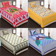 Priya Fashions Cotton King Size Jaipuri Printed 4 Single Bedsheets With 4 Pillow Covers-70X100B4C5