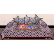 Set of 8 Priya Fashions Cotton King Size Jaipuri Printed Diwan Set-70X100DW5