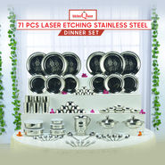 71 Pcs Laser Etching Stainless Steel Dinner Set
