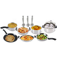 8 Pcs Induction Friendly Stainless Steel Cookware Set + Free 3 Pcs Kitchen Tools