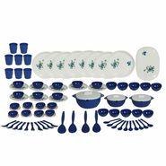 Sugam Plastic 84 Pcs  Omega Dinner Set-Blue-BPA FREE-Microwave safe
