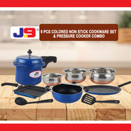 9 Pcs Colored Non Stick Cookware Set & Pressure Cooker Combo