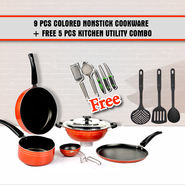9 Pcs Colored Nonstick Cookware + Free 5 Pcs Kitchen Utility Combo