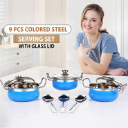 9 Pcs Colored Steel Serving Set With Glass Lid