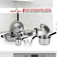 9 Pcs Stainless Steel Induction Friendly Cookware Set