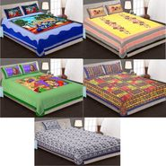 Priya Fashions Cotton King Size Jaipuri Printed 4 Double 1 Single Bedsheets With 9 Pillow Covers-90X108B5C1