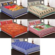 Priya Fashions Cotton King Size Jaipuri Printed 4 Double 1 Single Bedsheets With 9 Pillow Covers-90X108B5C3