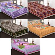 Priya Fashions Cotton King Size Jaipuri Printed 4 Double 1 Single Bedsheets With 9 Pillow Covers-90X108B5C6