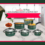 9 Pcs Colored Cook & Serve Set