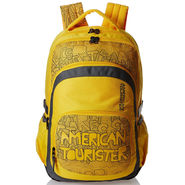 American Tourister Polyester Yellow Backpack -A08