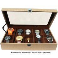 10 Slot Leatherette Vintage Vogue Art Watch Organiser_ADWB0000138 - Brown