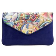 Arisha Leather +Satin  Sling Bag AE14b  -Blue