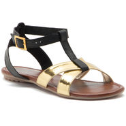 Aleta Synthetic Leather Womens Flats Alwf0816-Gold/Black