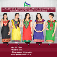 Aaina Set of 5 Embroidered Art Silk Ready to Stitch Kurti Material