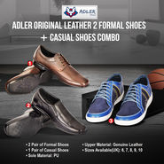 Adler Original Leather 2 Formal Shoes + Casual Shoes Combo