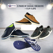 Adler 3 Pairs of Casual Sneakers + Flip Flops