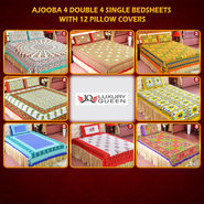 Ajooba 4 Double & 4 Single Bedsheets with 12 Pillow Covers (4DSBS12)