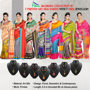 Akanksha Collection of 7 Printed Art Silk Sarees by Pakhi (7A15) with 7 Free Jewellery