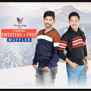 American Indigo 2 Winter Sweaters + Free Muffler