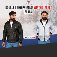 American Indigo Double Sided Premium Winter Jacket - Black