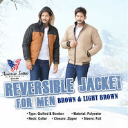 American Indigo Reversible Jacket For Men - Brown & Light Brown