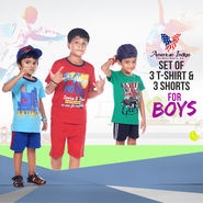 Set of 3 T-Shirts & 3 Shorts for Boys