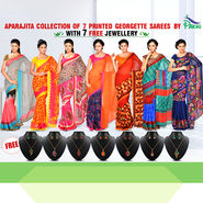 Aparajita Collection of 7 Printed Georgette Sarees by Pakhi (7G30) with 7 Free Jewellery