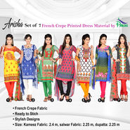 Arisha Set of 7 French Crepe Printed Dress Material by Pakhi (7FCDM3)